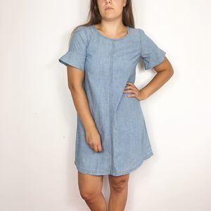 MADEWELL Blue Chambray Bow Back Dress Bell Sleeves